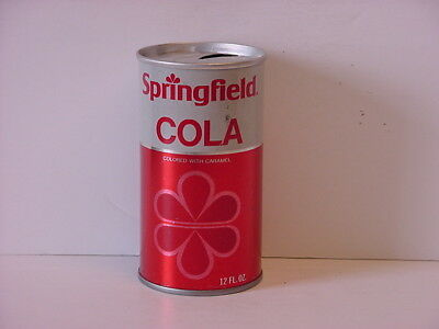 Vintage Springfield Cola Straight Steel Pull Tab Top Opened Soda Can No Bar Code
