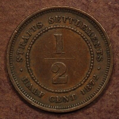 Straits Settlements 1/2 Cent 1872-H Copper ChVF+