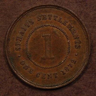 Straits Settlements Cent 1872-H Copper EF