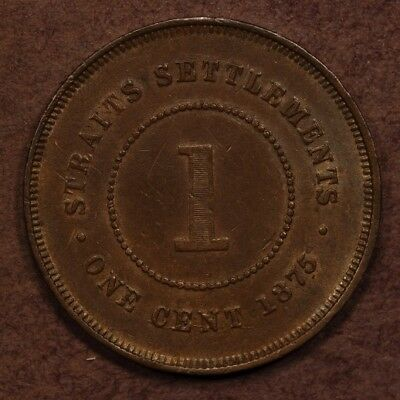 Straits Settlements Cent 1875-W Copper ChEF