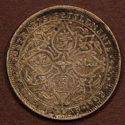 Straits Settlements Dollar 1903-B  Raised B Silver EF