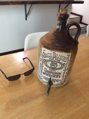Jack Daniels RARE !! Stone. Decanter Brass Tap. Rarely Seen.