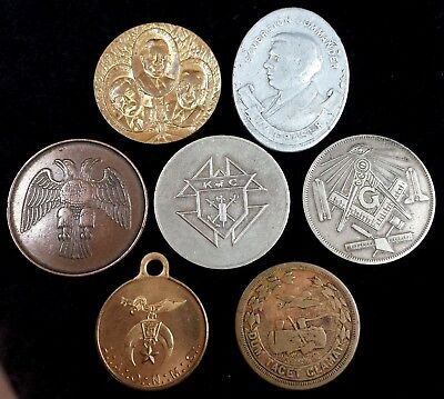 Lot of 7 Fraternal Coins Tokens Masonic Woodmen of the World Knights of Columbus