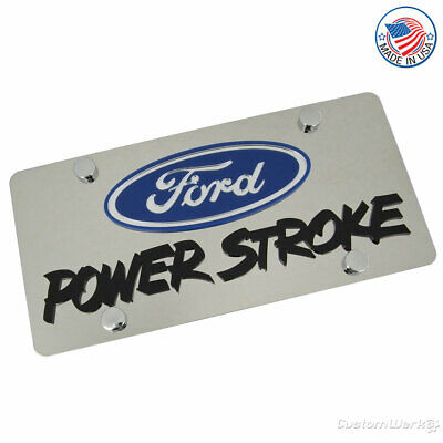 Ford Laser-Cut Logo & Power Stroke Name On Polished License Plate