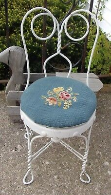 Vintage Antique Wrought Iron Mini Chair Childs Ice Cream Parlor Chair