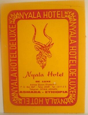 Vintage Hotel Luggage Label NYALA HOTEL DELUXE Asmara, Ethiopia (Orange Label)
