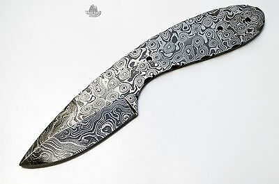 LOT OF 2 Damascus Steel Drop Point Knife Blank Making Blade Hunting Skinning Kni