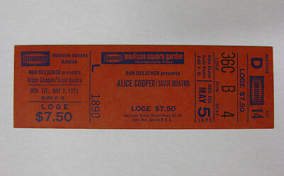 ALICE COOPER Welcome To My Nightmare 1975 UNUSED Concert TICKET New York MSG