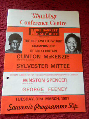 Boxing Programme - Clinton Mckenzie V Sylvester Mittee 1981