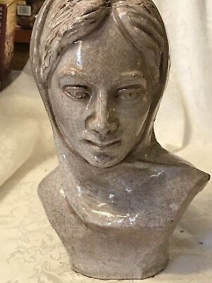 Vintage Redware Art Pottery Lady Bust Mary ?  Italy?
