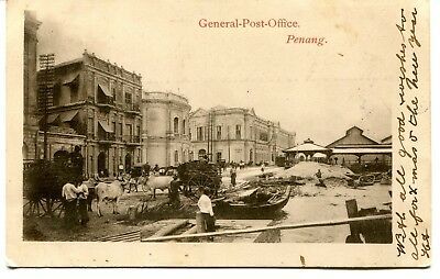 Malaya Penang Singapore postcard of General Post Office used
