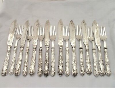 Edwardian 16 Piece Sterling Silver Fish Cutlery Set Queens Pattern 1902. 8 Place