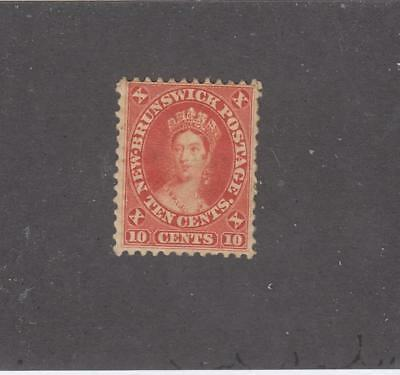 NEW BRUNSWICK  # 9  MH OG 10cts  QUEEN VICTORIA VERMILION CAT VALUE $75