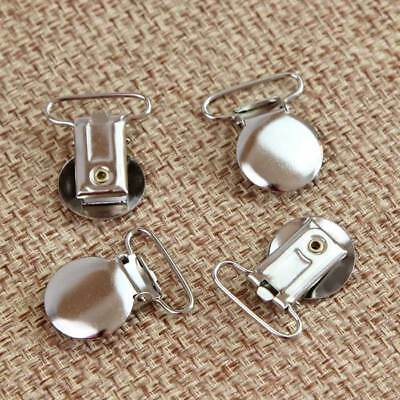 Metal Round Duckbilled Clamp Buckle Pacifier Suspender Holder Clips Craft 10 Pcs