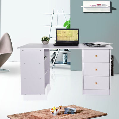 Home Office Computer PC Desk Study Table Workstation,3 Drawers & 3 Shelves,White