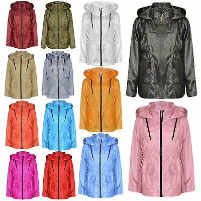 Girls Boys Raincoats Jackets Kids Lightweight Hooded Cagoule Rain Mac 5-13 Years