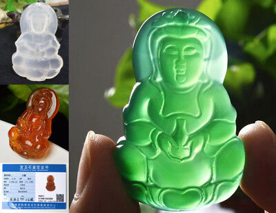 Chinese Green / White/ RED Buddha Carved Jade String Necklace Pendant  Wedding