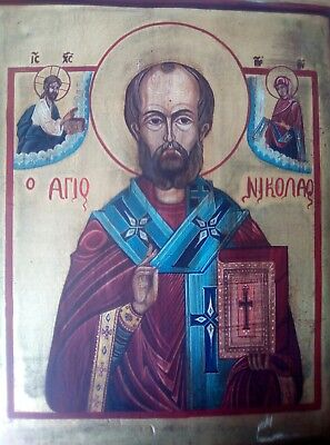 Fine 19thc orthodox tempera Russian icon on wooden panel, ANTIQUE OIL PAINTING.