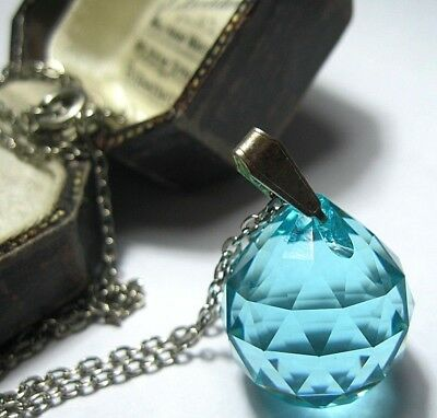 VINTAGE Antique ART DECO 30s Aquamarine GLASS Crystal Jewellery Pendant NECKLACE