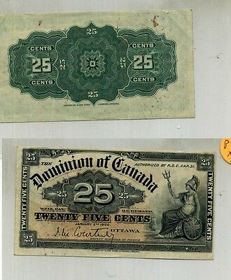 1900 .25 Canada Fractional Currency Note Xf 7520D