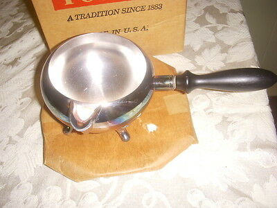 Poole Silverplate Footed Sauce - Gravy W / Wooden Handle & Underplate  Mib