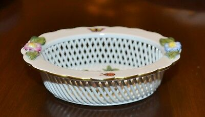 HEREND HUNGARY ROTHSCHILD #7379 Open Lattice Weave Oval Basket  - Excellent