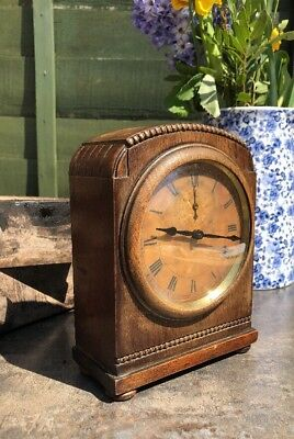 Antique Mantle Clock Solid Oak WORKING European / French?  Vintage Nice Example