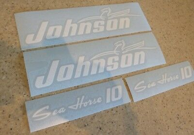 Johnson Sea Horse 10 HP Outboard Motor Decal Kit Vintage + Free Fish Decal!