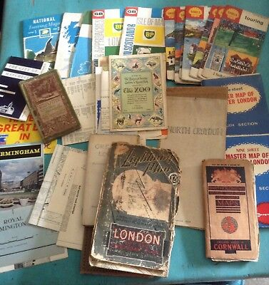 Job lot of British maps and town guides. 1940's - 1960's