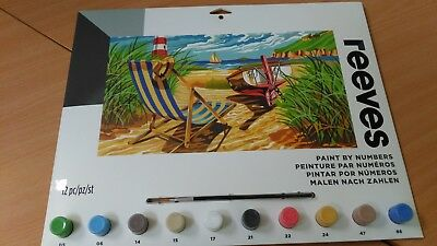 REEVES Painting By Numbers - LARGE - PL127 - SEASHORE - BRAND NEW/SEALED