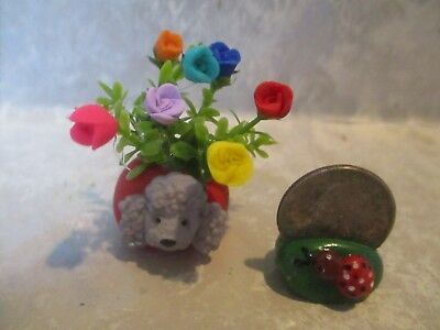 "Miniature FUN 2""h Mini POODLE Polymer vase of Polymer assorted roses TINY"