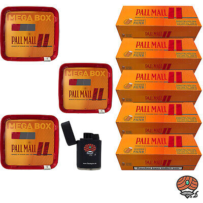 3 x Pall Mall Allround Mega Box 210g Tabak, Allround Hülsen, Sturmfeuerzeug