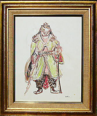 CHINESE SOLDIER painting 1947 Jon Corbino, N.A. (1905-64) watercolor FRAMED