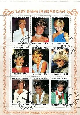 Republic of Chad 1998 Princess Lady Diana in Memoriam Sheetlet Stamps (9)