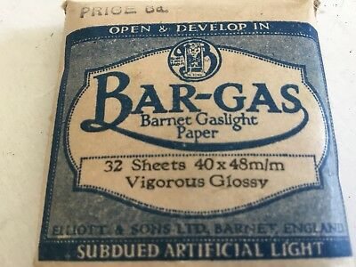 Bar-Gas Barnet Gaslight Vigorous Glossy Photographic paper See Description Below