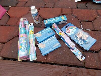 Care Bears Bear Vintage Bathroom Goodies Lot Toothbrushes Toothpaste Lip Balm