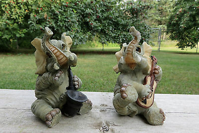 2 Elephants Figurines Playing Music African Jungle Animal Resin Statue New Set 4
