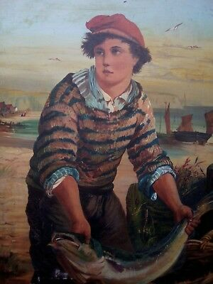 Antique Oil Painting, Expert Help Required Young Fisherman Dated 1886 Signed L B