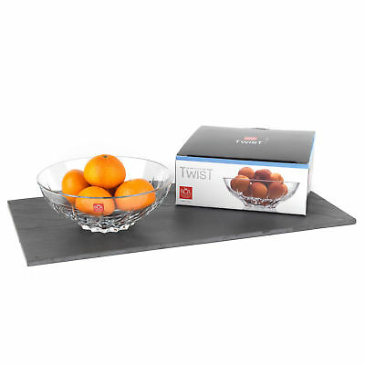 RCR Twist 24.5 cm Crystal Glass Centrepiece Fruit Bowl made in Italy -RRP£49.99