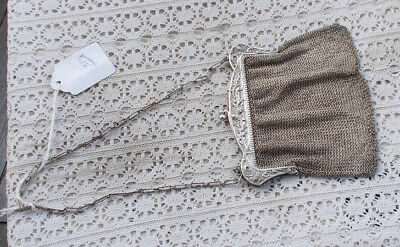 """RARE Vintage Antique 1910 Sterling Silver 5"""" Mesh Coin Purse Hand Bag Holly LOOK"""