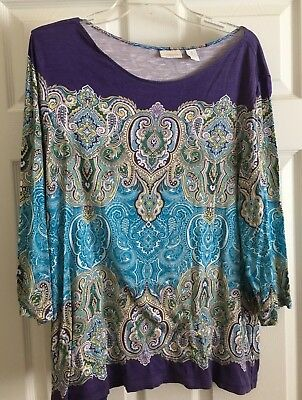 Ladies Chico Size 3 Multicolored  Top In Blue And Purple