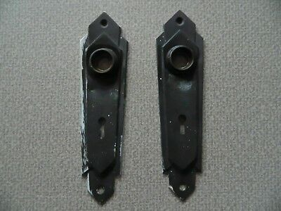 TWO ANTIQUE VINTAGE ART DECO DOOR KNOB ~ KEY HOLE PLATES ~ MAYBE COPPER or BRASS