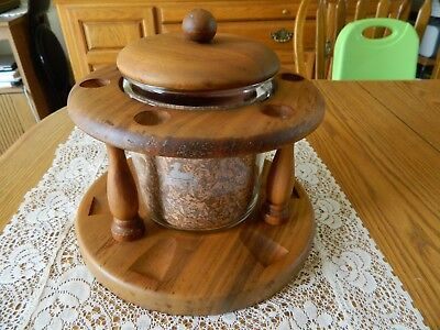 Vintage Genuine Duk-It Glass Humidor With 6 Pipe American Walnut Stand