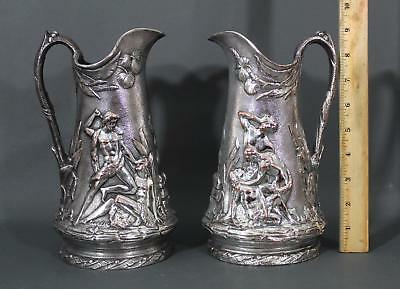 Rare Antique Art Nouveau CECCARINI Silverplate Nude Men Copper Pitchers