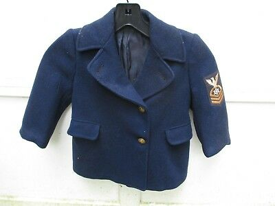Vintage 1941-45 WW2 US Navy Naval Youth Child's Size Pea Coat Suit Jacket