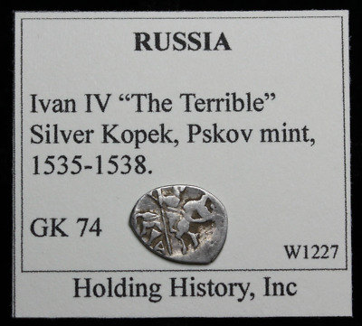 """RUSSIA. Ivan IV """"The Terrible"""", Hammered Silver Kopek, Wire Money, G&K 74"""