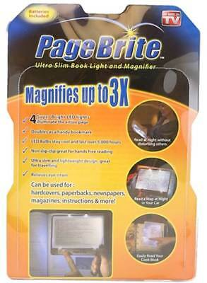 Page Brite - Ultra Slim Book Light & Magnifier - Magnifies Up To 3X