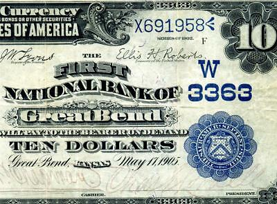 HGR SATURDAY 1902 $10 DATE BACK Great Bend, KS (UNIQUE 1 Known!!) AWESOME GRADE