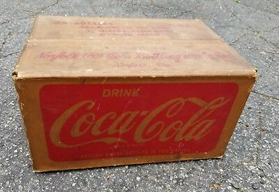 Antique COCA COLA Coke 24 Bottle Carton Carrier Crate Advertising Cardboard Box