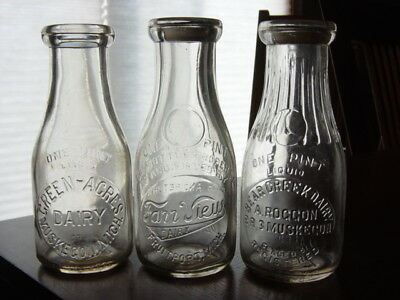 3) 1930s Roggon FARR VIEW Fruitport MICHIGAN Muskegon MICH. MI dairy milk bottle